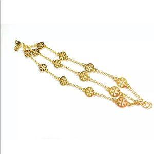 New! Multi Strand Tory Burch Gold Logo Bracelet
